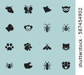 set of 16  zoology icons....