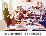 group of fashion designer have... | Shutterstock . vector #587455268