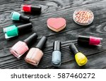 set of decorative cosmetics on... | Shutterstock . vector #587460272