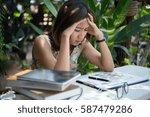 women with stress hands on head ... | Shutterstock . vector #587479286