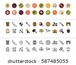black and color outline icons... | Shutterstock .eps vector #587485055