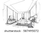 Stock vector sketch streaks bedroom black and white interior design vector sketch 587495072