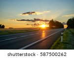 sunset over the empty asphalt... | Shutterstock . vector #587500262