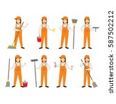 cleaning service character... | Shutterstock .eps vector #587502212