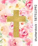 watercolor flower cross. easter ... | Shutterstock . vector #587511992
