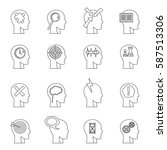 head logos icons set. outline... | Shutterstock .eps vector #587513306