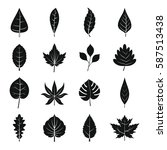 plant leafs icons set. simple... | Shutterstock .eps vector #587513438