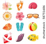 summer time icons | Shutterstock . vector #58751686