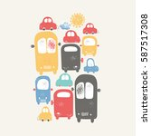 cars with traffic jams in the... | Shutterstock .eps vector #587517308