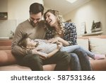 happy family spending time at... | Shutterstock . vector #587531366