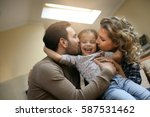 happy family spending time with ... | Shutterstock . vector #587531462