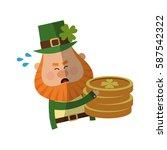 irish leprechaun icon holding... | Shutterstock .eps vector #587542322