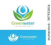 green water logo  organic and... | Shutterstock .eps vector #587552816