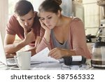 young female and her unemployed ... | Shutterstock . vector #587565332