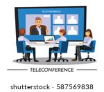 business peopleteleconference... | Shutterstock .eps vector #587569838