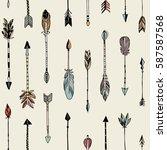 hand drawn tribal arrows... | Shutterstock .eps vector #587587568