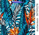 seamless tropical pattern.... | Shutterstock .eps vector #587595278
