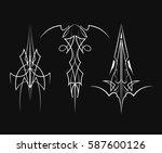set of pinstripe vintage design ... | Shutterstock .eps vector #587600126