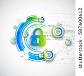 protection concept. security... | Shutterstock .eps vector #587600612