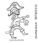 funny zombie pirate coloring... | Shutterstock .eps vector #587602112