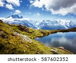 views of the mont blanc glacier ... | Shutterstock . vector #587602352