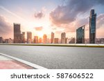 city road with cityscape and... | Shutterstock . vector #587606522