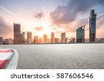 city road with cityscape and... | Shutterstock . vector #587606546
