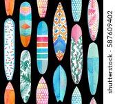 watercolor surfboard seamless...   Shutterstock . vector #587609402