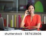 young black female employee... | Shutterstock . vector #587618606