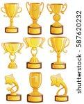 gold cups winner set cups of... | Shutterstock .eps vector #587620232
