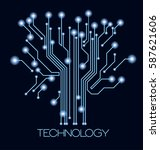 future technology. blue cyber... | Shutterstock .eps vector #587621606