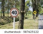 speed limit zone warning road... | Shutterstock . vector #587625122