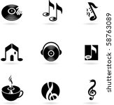 nine simple music icons
