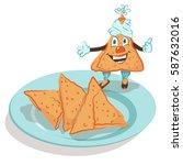 samosa   indian national... | Shutterstock .eps vector #587632016