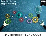 hand business propel with cog... | Shutterstock .eps vector #587637935