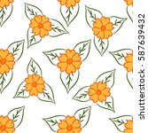 bright simple floral pattern.... | Shutterstock .eps vector #587639432