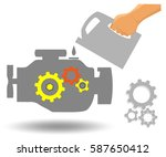 car engine maintenance. oil... | Shutterstock .eps vector #587650412