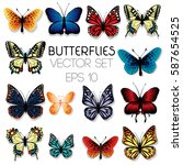 Stock vector  colorful butterflies set isolated on white 587654525