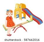 ginger girl on the playground.... | Shutterstock .eps vector #587662016
