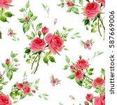seamless watercolor pattern... | Shutterstock . vector #587669006