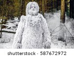 Stock photo yeti fairy tale character in winter forest outdoor fantasy photo 587672972