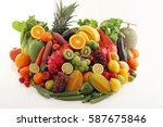fresh fruits and vegetables | Shutterstock . vector #587675846