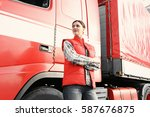 young female driver near big... | Shutterstock . vector #587676875