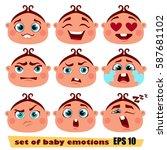 set of cartoon smiley   Shutterstock .eps vector #587681102