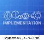 implementation text with gear... | Shutterstock .eps vector #587687786