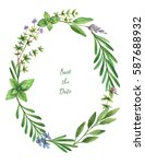 watercolor hand painted oval... | Shutterstock . vector #587688932