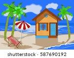 summer beach. beach house on... | Shutterstock .eps vector #587690192
