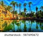 summer garden view of alcazar ... | Shutterstock . vector #587690672