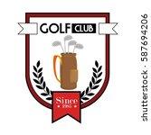 golf sport clubs bag emblem icon   Shutterstock .eps vector #587694206