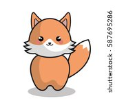 cute fox kawaii style | Shutterstock .eps vector #587695286